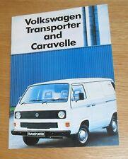 Volkswagen VW Transporter & Caravelle Brochure 1986