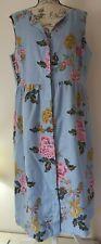Ladies Joules Lisia Sleeveless Button Down Dress Light Blue Chinoise Size UK 18