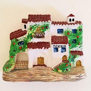 Rustic Holiday Souvenir Spanish White Menorca Villa Pottery Wall Decor Kitsch