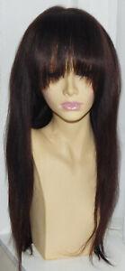 "Light Yaki Fringe-bangs 20"" dark brown lace front wig human hair and sassy"