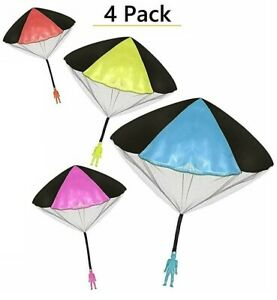 4Pack Tangle Free Throwing Toy Parachute Man with Large Parachutes! 4 Colors
