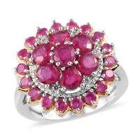 925 Sterling Silver Platinum Over Ruby Cluster Ring Jewelry Gift Size 7 Ct 4.4