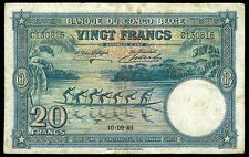 1940 BELGIAN CONGO 20 FRANCS LONGBOAT BANKNOTE - VERY FINE CONDITION -KP # 15