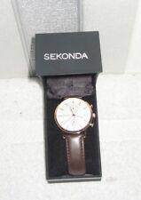 Sekonda 1381.27 Men's Chronograph Date Leather Strap Watch, Brown/Cream