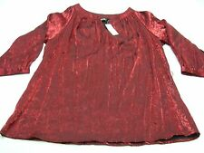 AVENUE - RED - RAYON/POLYESTER BLEND - 18/20 SIZE BLOUSE SHIRT TOP