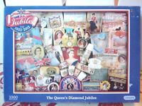 Gibsons Queens Diamond Jubilee 1952-2012 Jigsaw Puzzle 1000 piece Complete Royal