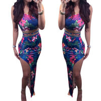 Women spaghetti strap floral print bodycon club party asymmetrical hem dress 2pc