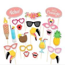 21 Pcs Flamingo Tropical Summer Props Stick Hawaiian Photo Booth Props Kit