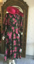 Stunning ladies floral vintage long dress chiffon sleeves circa 1960s