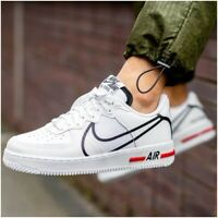 Nike Air Force 1 React Mens Size 13 UK Trainers White Black Red Shoes CD4366-100