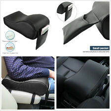Black Leather Multifunction Car Center Armrest Pad Heighten Mat Storage Box Bag