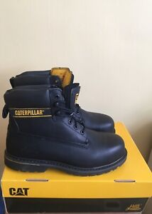 CATERPILLAR ANKLE BOOTS SIZE UK 9 CAT WORK STEEL TOE OIL RESISTANT BLACK LEATHER