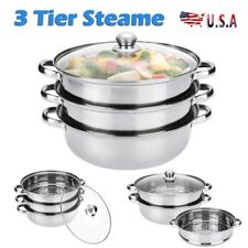Stainless Steel 3 Tier Steamer Meat Vegetable Cooker Steam Pot Kitchen Tool New