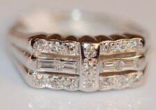 NWT 1/2 TCW Round and Baguette Diamond Ring set in 14K White gold