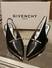 GIVENCHY Bar Leather Slingback Pumps In BLACK - SIZE 38.5