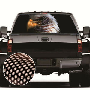 Eagle & USA FLAG Rear Window Graphic Decal Tint Sticker for Pickup SUV 53''x14''