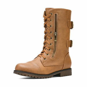 Women's Lace up Mid Calf Military Combat Motorcycle Boots Ankle Bootie for Women