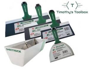 """USG Sheetrock Pro Series Taping Knife Set 6-8-10-12 + 12"""" USG Sheetrock Mud Pan"""