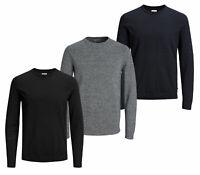Jack & Jones Mens New Crew Neck Knitted Long Sleeve Jumper Black Navy Grey