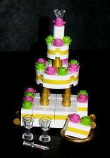 LEGO Custom Wedding Cake Bride Groom Wine Town Hall 10224 Pastry Friend Bakery