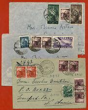REPUBBLICA, LOTTO 3 AEROGRAMMI X USA, AFFRANCATURE DEMOCRATICA, 1947 - 1949    m