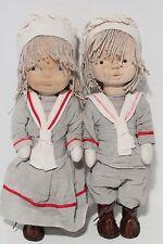 Michelangeli Orvieto Italia Wooden Face Artist Doll Boy & Girl Sailor Dolls OOAK