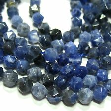 "Blue Sodalite 6mm Diamond Star Cut Faceted Round Beads 15.5"" Natural Untreated"
