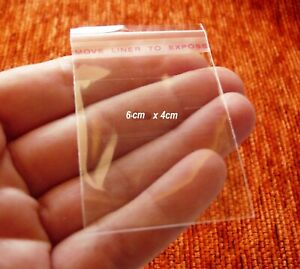 50x Clear Plastic Self Adhesive Seal Bags for Jewelry Packaging 6x4cm