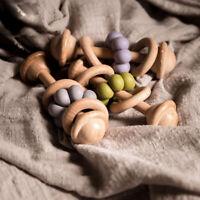 Baby Sensory Teething Beech Wooden Ring Silicone Beads Stroller Rattles Pram Toy