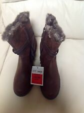 COLLECTION New Leather Block Heel Ankle Boots With Faux Fur Size: 6  RRP £49.50