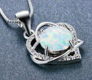 White Fire Opal Sterling Silver Filled Double Heart Necklace Silver Chain 40cm