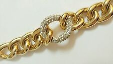 GIVENCHY SIGNED WIDE HEAVY RHINESTONE PAVE OVAL LINK GOLD RUNWAY BRACELET
