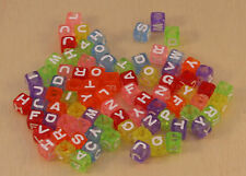 100pcs colourful 7mm cube acrylic letter/alphabet beads