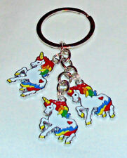 Unicorn Charms on Silver ToneKeychain/Keyring  Handcrafted