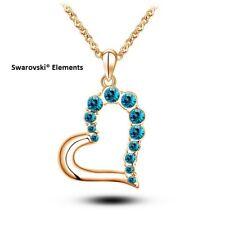 Collier chaîne pendentif coeur plaqué or Swarovski® Elements vert lagon cadeau