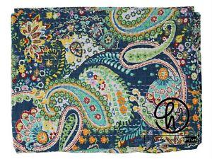 Indische Handarbeit Decken Baumwolle Kantha Bettdecke Blau Farbe Bettwäsche