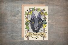 Black Phillip Greetings Card & Envelope - Pagan Goat Halloween Live Deliciously