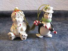 2 Lenox Very Merry Christmas Porcelain Ornament Bear Lights & Penguin Candy Cane