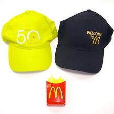 2 x McDonalds Crew Hats: Green 50th, Black Welcome McD Cap + Fries Phone Toy