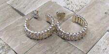 """Sterling Silver Textured Hoop Earrings 3/4"""" ~ 5grams ~ 10-K492"""