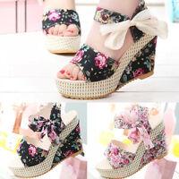 Fashion Women's Floral Print Wedges Ladies Ankle Strap Sandals Summer Shoes Pop.