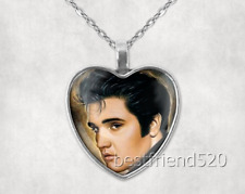 Elvis Presley Photo Tibet Silver Cabochon Glass Heart Pendant Heart Necklace#2