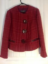 DOLCE & GABBANA Red Maroon Tweed Plaid Light Jacket Blazer Size 44