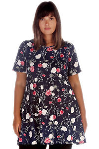 New Women Plus Size A-line Top Ladies Small Floral Print Swing Tunic Blouse