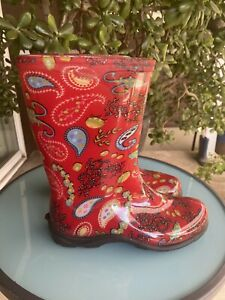 Sloggers Red Paisley Rain and Garden Waterproof Boots size 8 mid calf