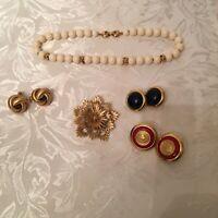 VTG MONET Gold Tone Flower Cluster Brooch Love Knot & Navy Earrings PLUS EXTRA !