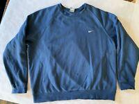 vtg Nike Blue Small Swoosh Crewneck Sweatshirt RARE Men's SZ XL   Gray Tag