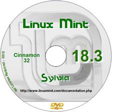 Comme neuf 18.3 32 Bit Cannelle Live système d'exploitation Linux Sylvia DVD + Libre Bureau
