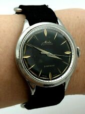 Vintage Mido Multifort Powerwind Super Automatic Stainless Steel BLACK DIAL Rare