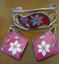 Mother Of Pearl Cuff Bracelet earrings Alpaca Mexico Silver Red Pink Colorful